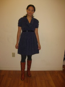 A picture of me wearing a blue dress