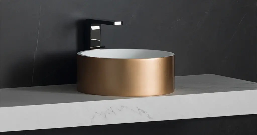 3 Way And Unique New Basins In Krion 174 With A Metal Finish