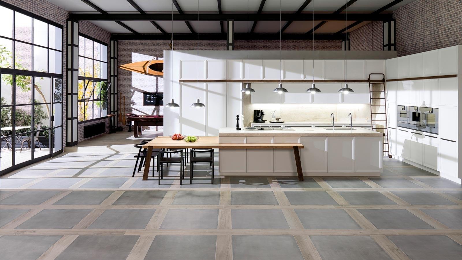 kitchen flooring ideas combining wood and ceramic tiles porcelanosa trendbook