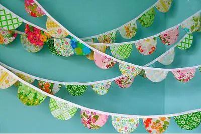 guirnalda con telas de patchwork