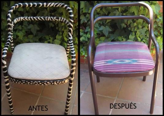 Antes y después de unas sillas metálicas
