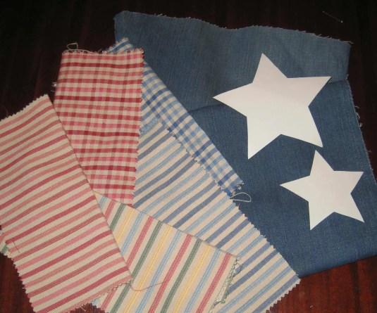 Telas y plantillas para coser estrellas de navidad