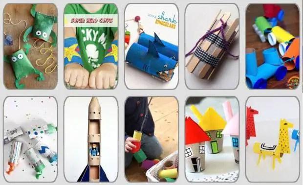 10 juguetes con tubos de cartón