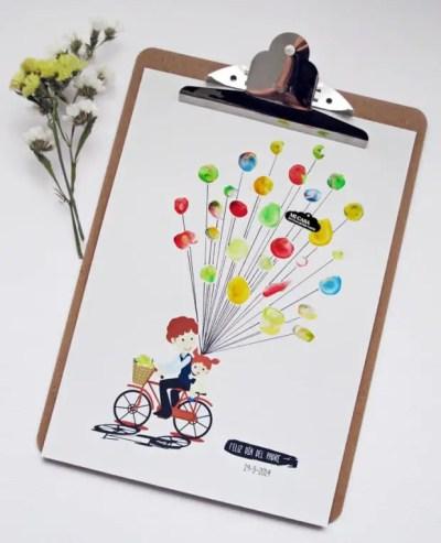 tarjeta con pintura de dedos para el día del padre