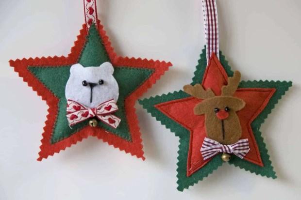 DIY: Estrellas de fieltro para  el árbol de Navidad