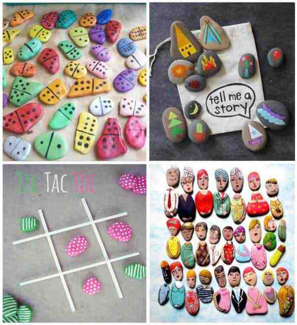 Diversos juegos infantiles hechos con piedras pintadas
