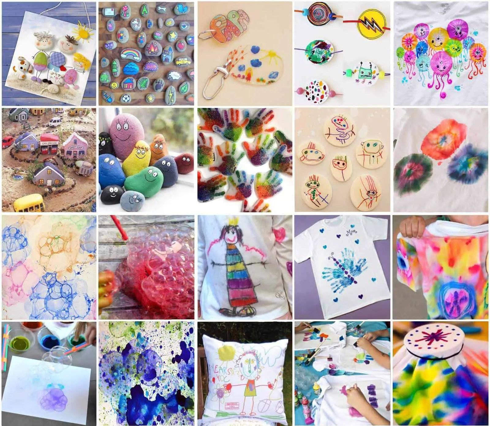 Diferentes ideas para que los niños dibujen y pinten con pinturas y soportes variados