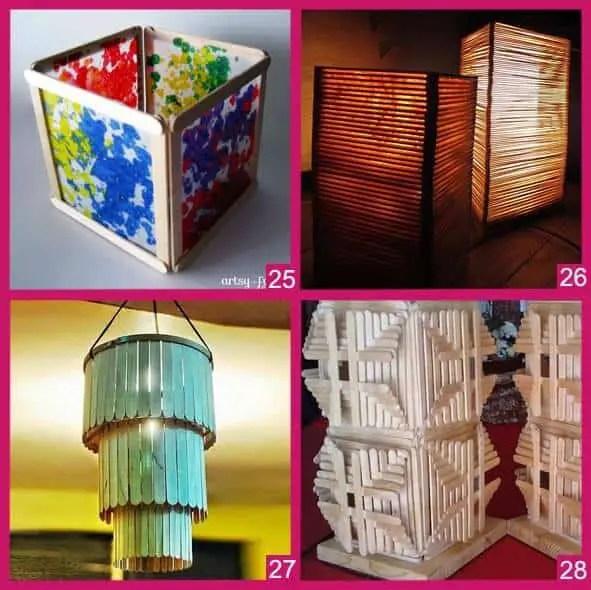 Imágenes de diferentes modelos de lámparas hechas con palitos de helado.