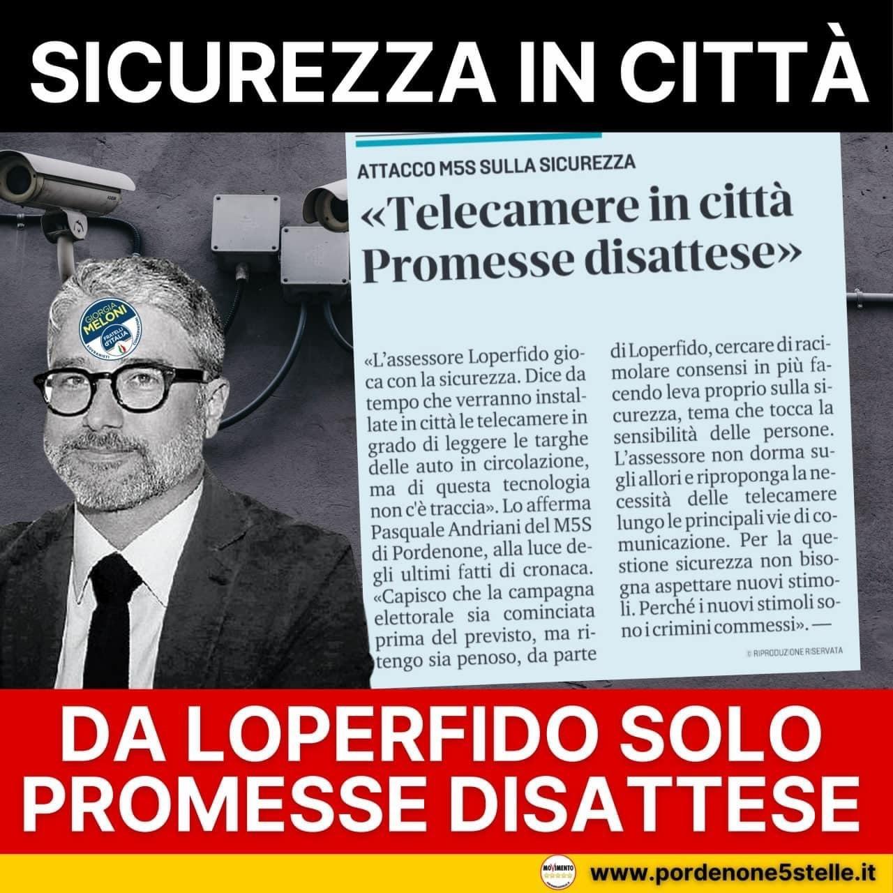 ANDRIANI: L'assessore Loperfido gioca con la sicurezza.