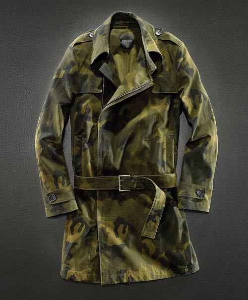 Simon Spurr Cotton Sateen Camouflage Trench Coat