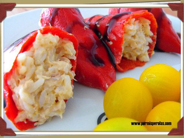 pimientos de piquillo rellenos de arroz y atun