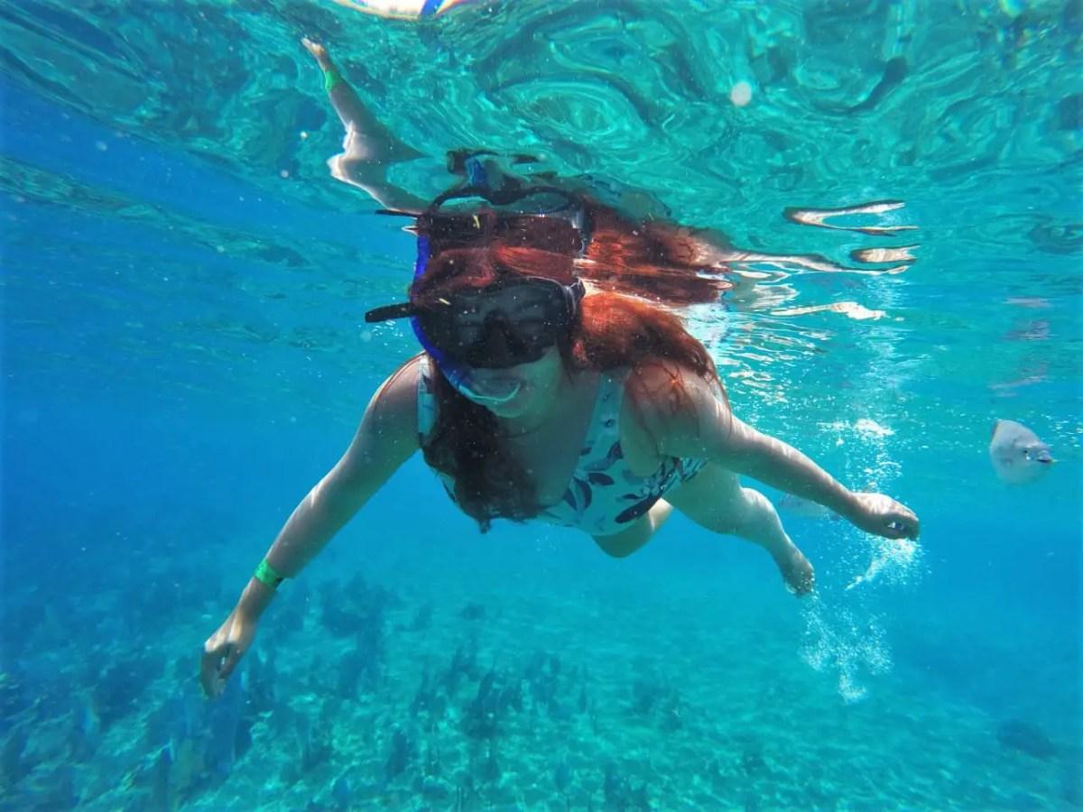 Haciendo snorkel en Cozumel.