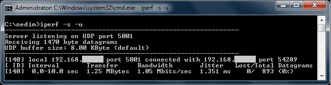 UDP test result of Iperf server