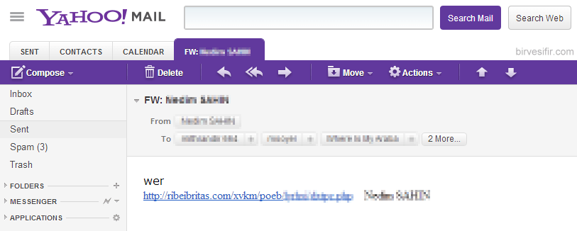 A spam which was sent from a friend's email account
