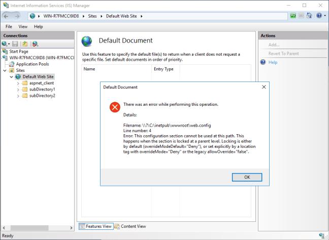 HTTP Error 500.19 IIS message
