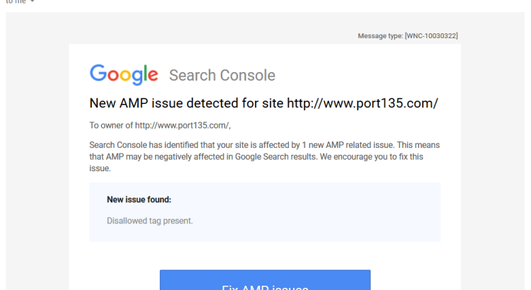 disallowed tag present google amp issue