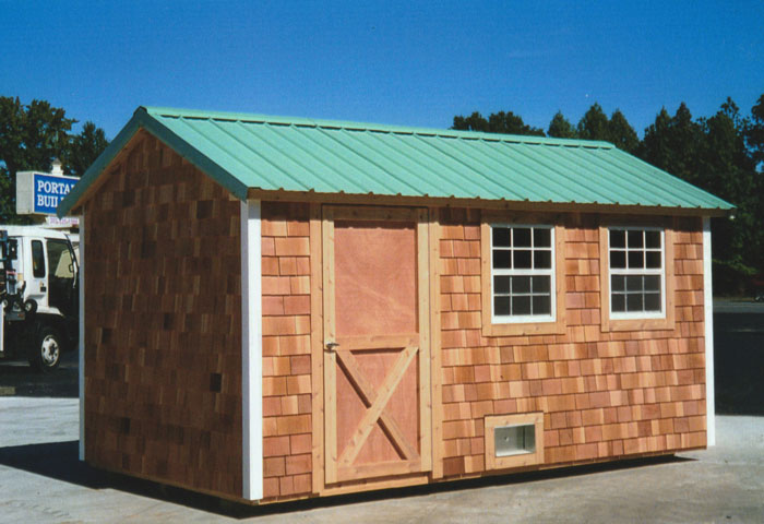 8 X 16 Ranch With Cedar Siding And Metal Roof R 16