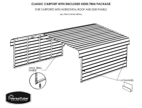 Sheet Metal Side Extension For 3x20 Metal Carport