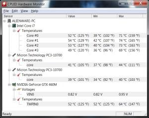 Alienware M17x - Températures