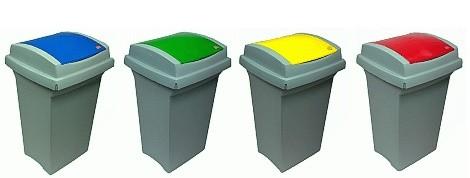barevné koše na tříděný odpad