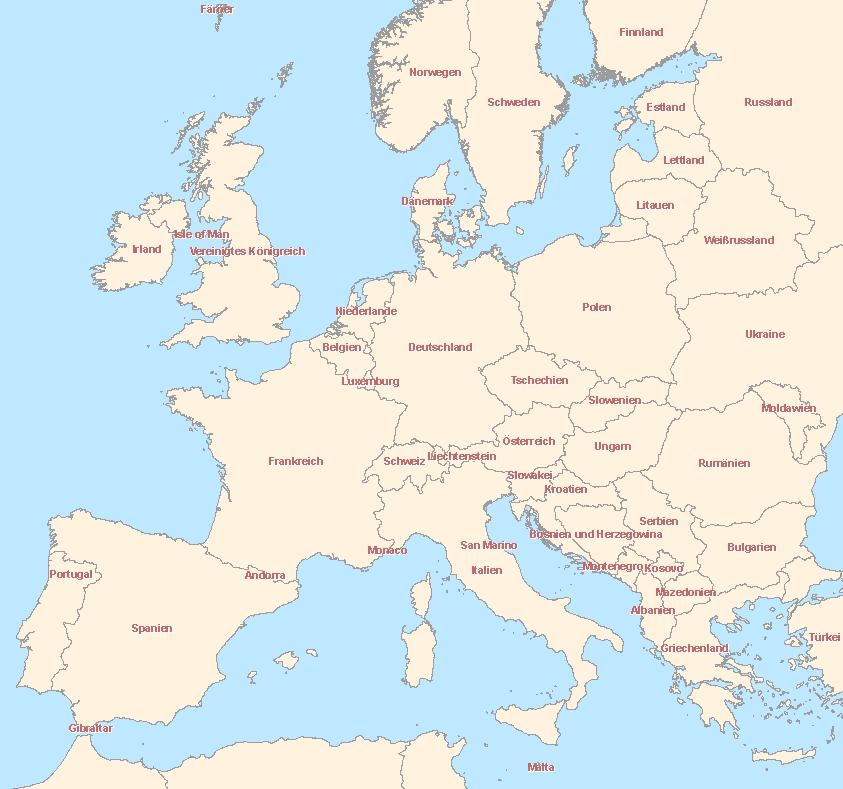 Karte Von Europa Informationen Europäischen Ländern