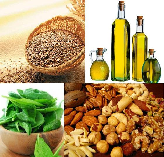 Semente de linhaça, óleos vegetais (azeite e canola), vegetais de folhas verdes escuras e castanhas e nozes são fontes alternativas de Ômega-3.