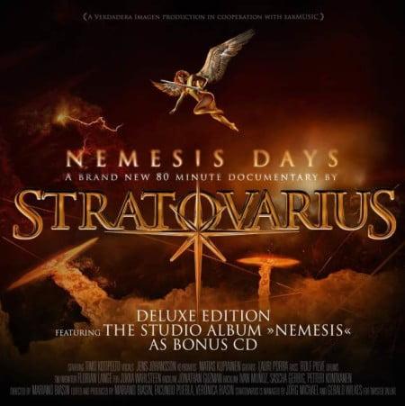 """Arte do documentário """"Nemesis Days"""", que acompanha a reedição do último álbum do Stratovarius"""