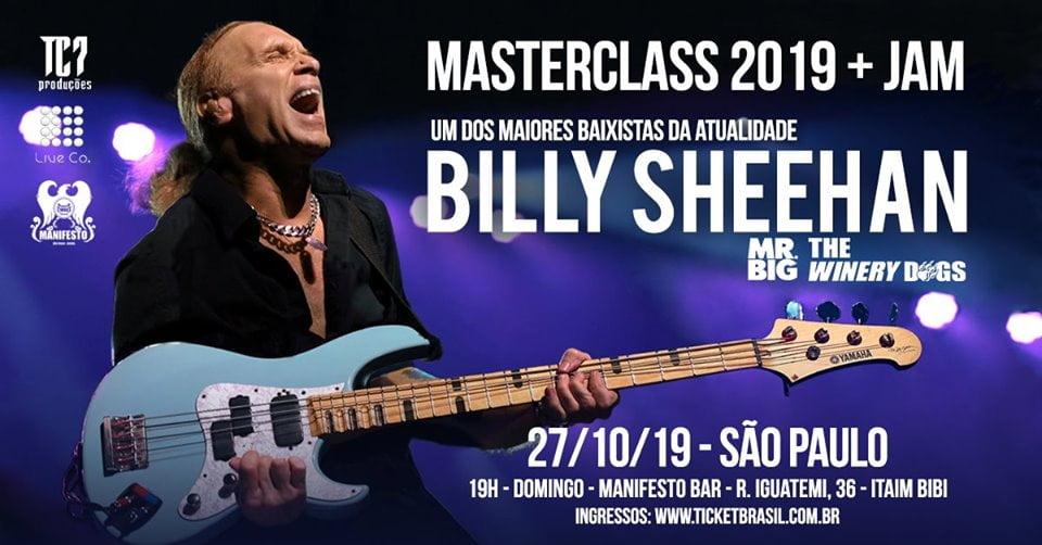 Billy Sheehan: Lendário baixista fará 'Masterclass' no Manifesto Bar, em outubro