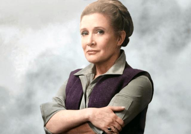 a atriz carrie fisher como a general organa em star wars o despertar da forca 2015