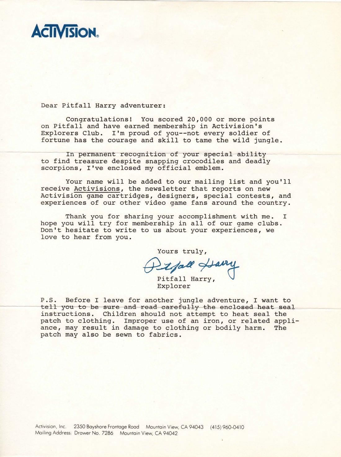 pitfall patch letter
