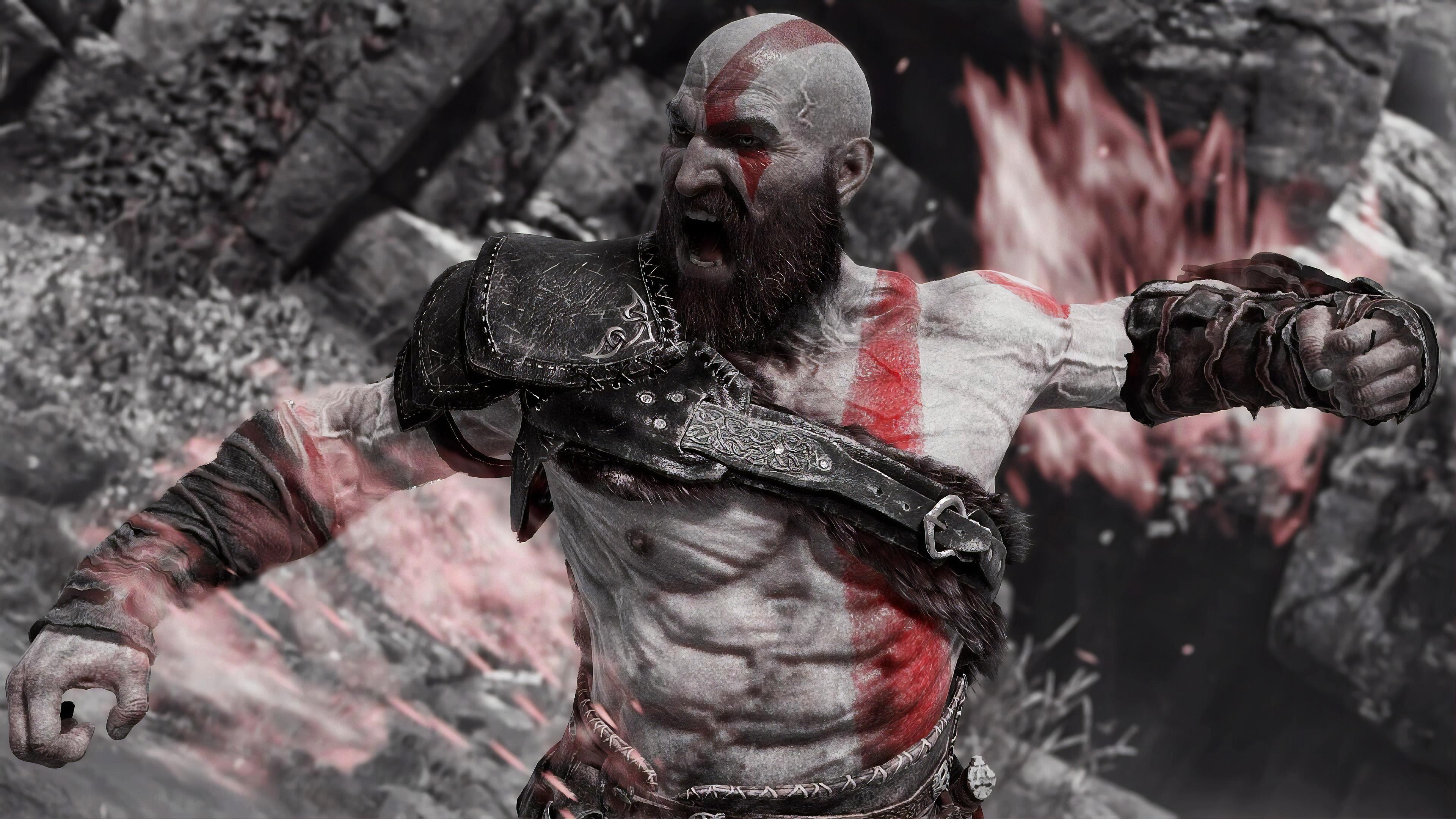 angry kratos 4k