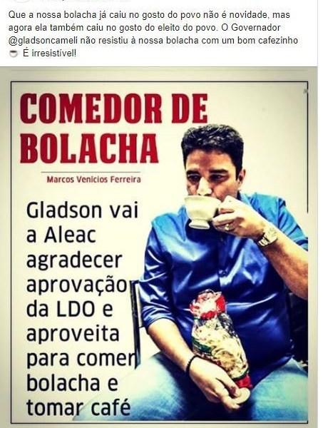 Empresa de bolacha usa Gladson como garoto propaganda; internautas condenam