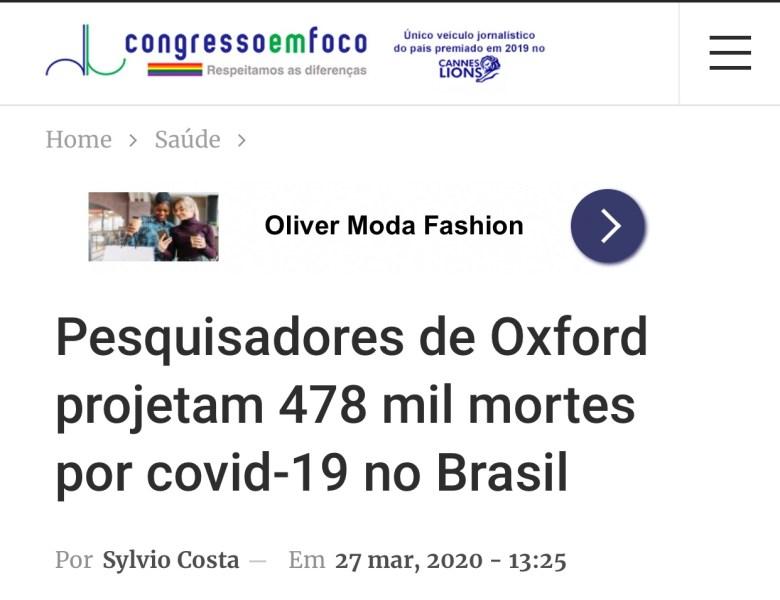 Pesquisadores de Oxford projetam 478 mil mortes por covid-19 no Brasil