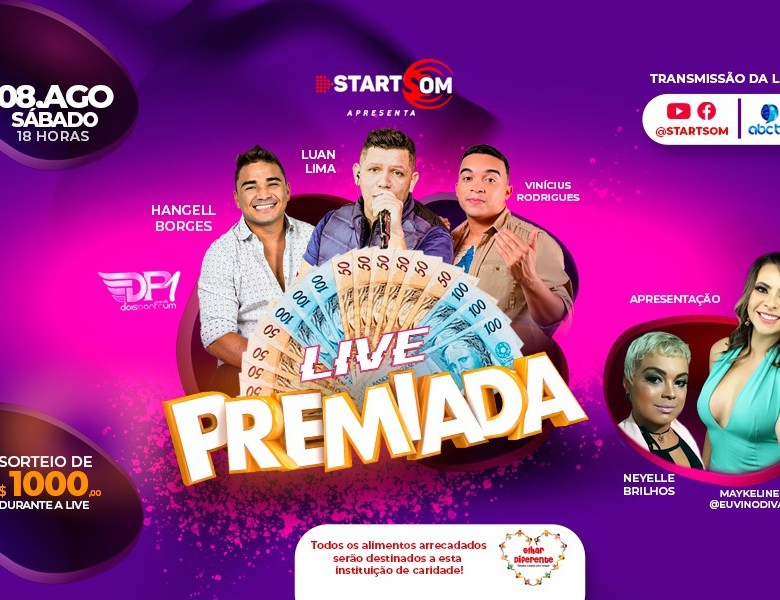 Empresa vai dar R$ 1 mil em live premiada no próximo dia 8