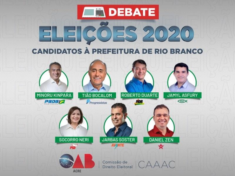 Candidatos à Prefeitura de Rio Branco participam de debate da OAB/AC e da CAA/AC nesta sexta