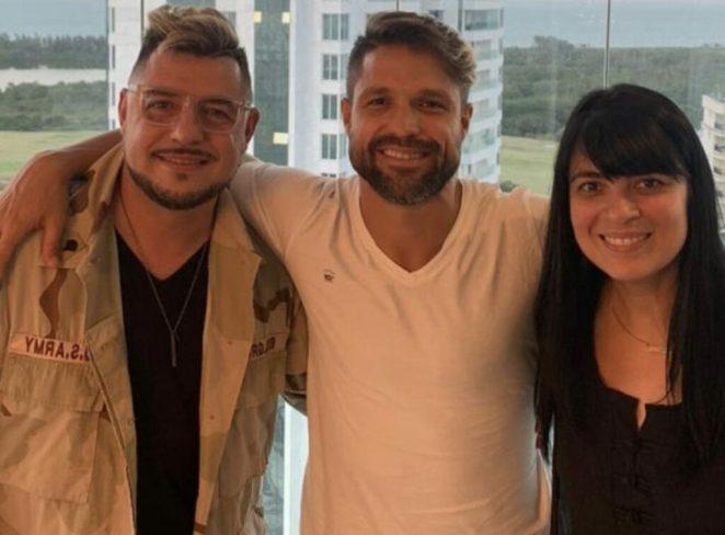 Pastor Emerson Pinheiro, Diego Ribas e a cantora gospel Fernanda Brum.