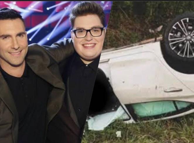 Adam Levine e o cantor Jordan Smith (de óculos) / Carro acidentado do artista.