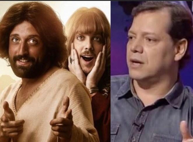 Gregório Duvivier (Jesus), Fábio Porchat (Orlando) e o pastor Hermes C. Fernandes.