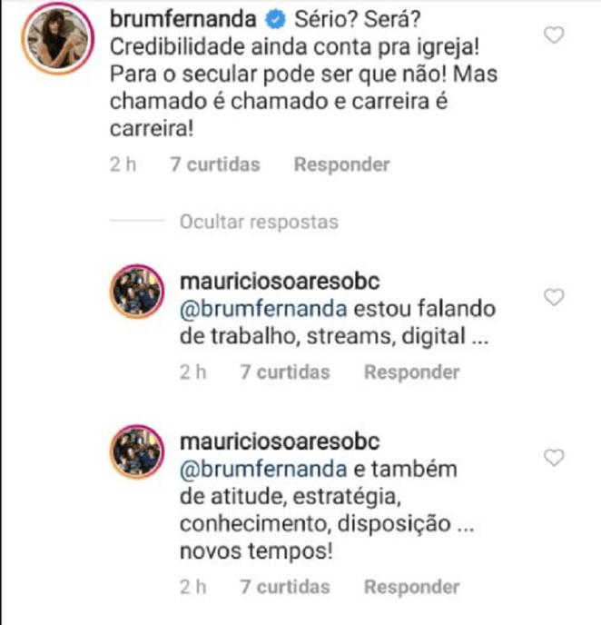 Fernanda Brum responde Maurício Soares em comentário.