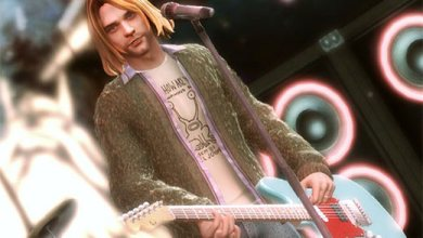 Foto de Courtney Love e a novela Guitar Hero 5