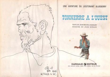 Álbum Blueberry Tonnerre A Louese com Desenho original de Moebius 1984