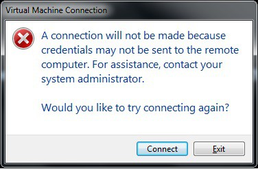 Hyper-V – A connection will not be made because credentials may not be sent to the remote computer.