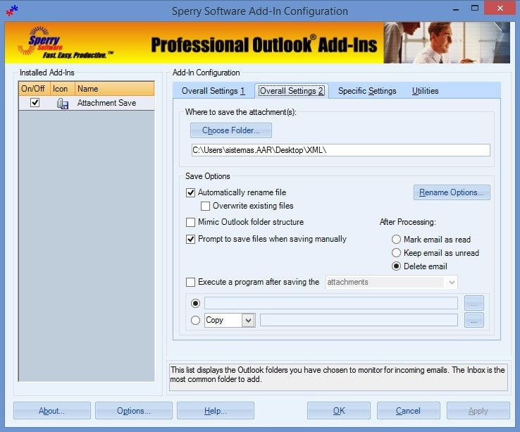 Attachment Save Add-In - Sperry Software - Outlook - Conf2