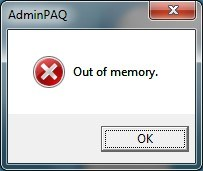 AdminPAQ - Error Out of memory