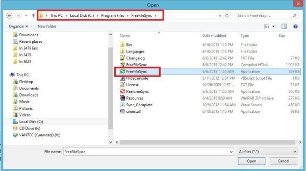 FreeFileSync - Crear respaldo de archivos - Ruta Freefilesync