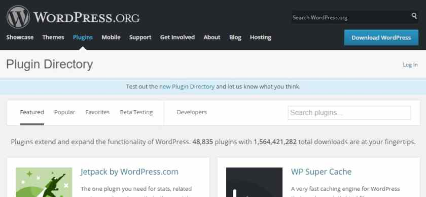 Wordpress repositorio de complementos