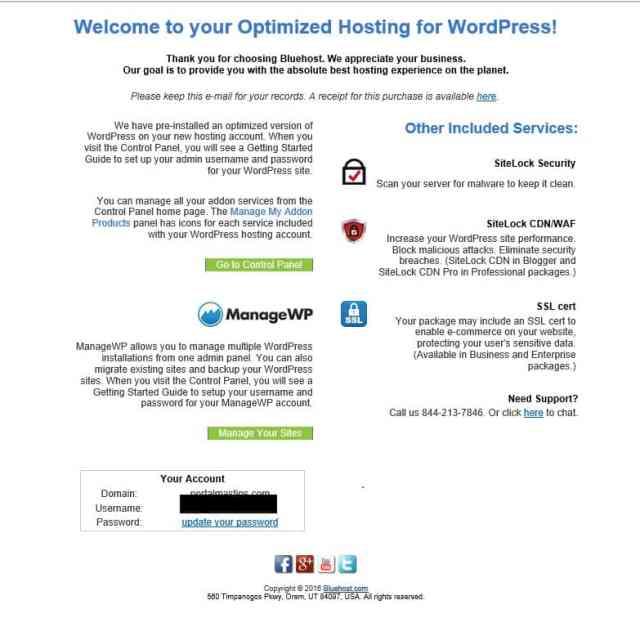 Bluehost iniciar un blog paso a paso correo con detalles de acceso