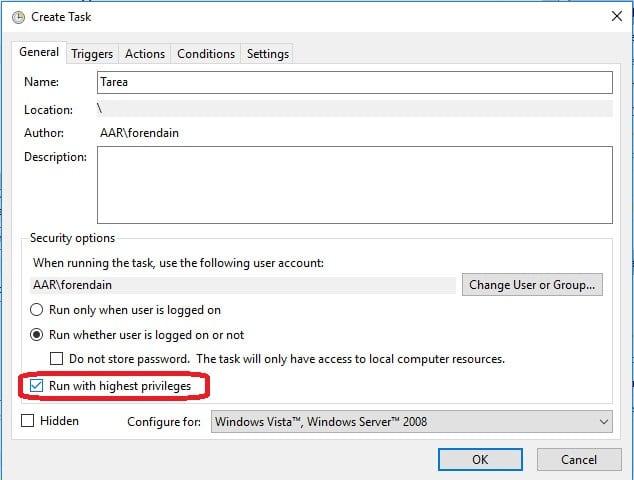Crear tarea programada en windows general