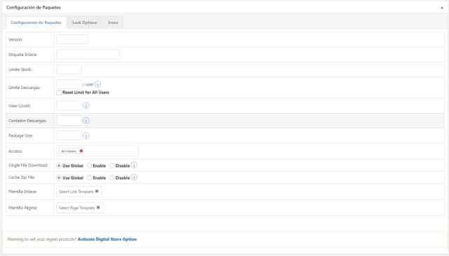 Wordpress download manager detalles de paquete