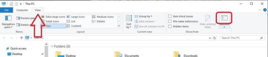 Ocultar o mostrar extensiones de archivos en Windows 10 - Opciones
